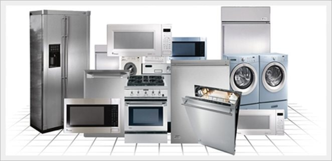 Refrigerator, stove, washer, dryer appliances in a group