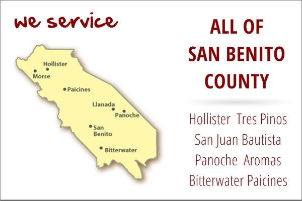 Appliance repair service area map for San Benito County, California