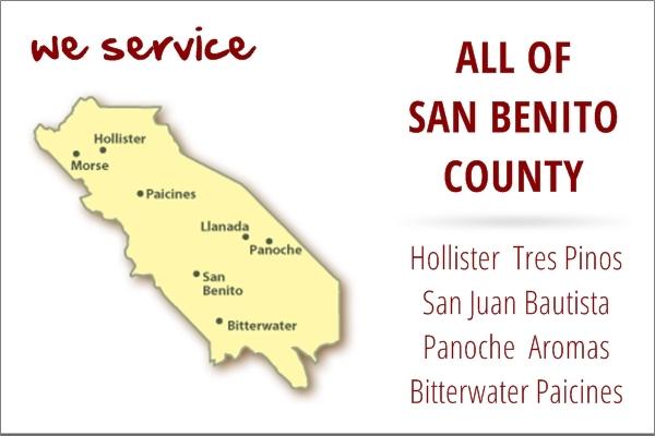 Appliance repair service area map for San Benito County, California